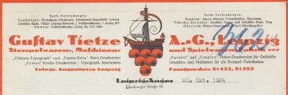 Gustav Tietze AG Briefkopf 1924
