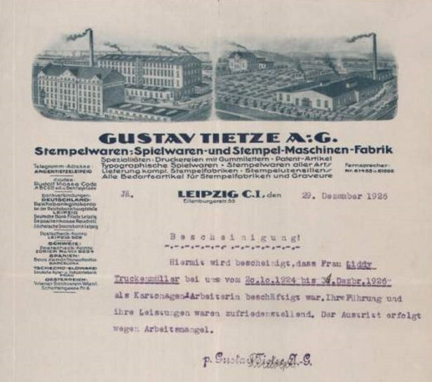 Gustav Tietze AG Briefkopf 1926