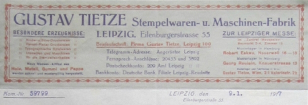 Gustav Tietze Briefkopf 1917